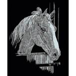 Mammut Spiel und Geschenk Kratzbild Mini Silber Pferd