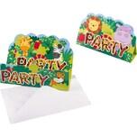 Amscan Einladungskarten Dschungel Tiere 8 Stück inkl. Umschläge