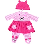 BAYER Kleider für Puppen 40-46 cm: 3-tlg. - Kleid Hose Mütze rosapink