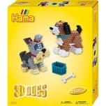 Hama Perlen 3243 Geschenkset 3D-Hunde, 2.500 midi-Perlen & Zubehör