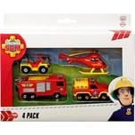 Dickie Toys Feuerwehrmann Sam Feuerwehrautos 4er Pack mit Hubschrauber