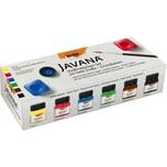 C. KREUL Javana Stoffmalfarben-Set für helle Stoffe Grundfarben, 6 x 20 ml + Pinsel