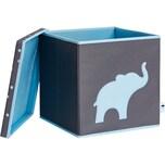 STORE IT! Spielzeugkiste Elefant mit stabilem Deckel graublau