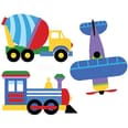 Wallies Wandsticker Auto und Flugzeug