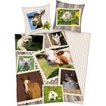 Herding Wende- Kinderbettwäsche Bauernhoftiere Renforcé 135 x 200 cm