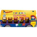 Amewi Farbenbus 12 x 25 ml Plakatfarben inkl. Pinsel & Mischpalette