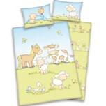 Herding Kinder Wendebettwäsche Jana Farmtiere Linon 100x135 40x60cm