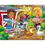Larsen Rahmen-Puzzle 18 Teile 36x28 cm Bauernhof-Kinder Mit Kalb