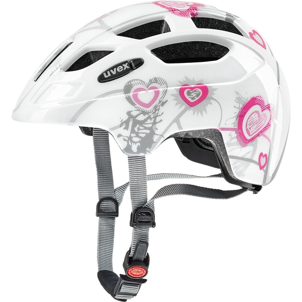 Uvex Fahrradhelm Finale Jr. Heart weiß-pink Größe 51-55