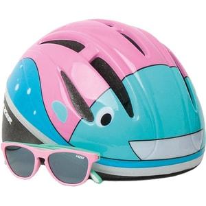 Lazer Fahrradhelm Bob Bulb und Sonnenbrille Set Gr. 46-52 cm pink-blau