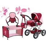 Bayer Kombi-Puppenwagen und Komplett-Set bordeaux für die Babypuppe