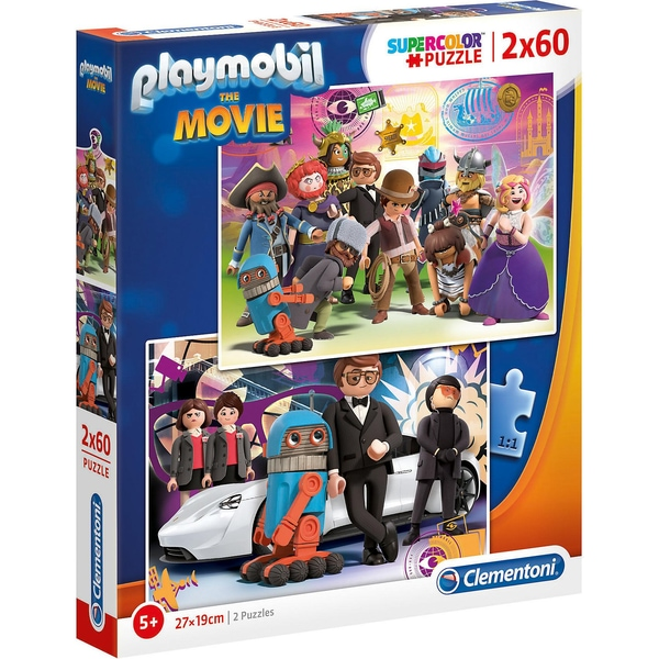 Clementoni Puzzle 2 x 60 Teile Supercolor Playmobil the Movie