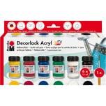 Marabu Starterset Decorlack Acryl 6 x 15 ml + Pinsel