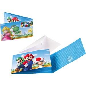 Amscan Einladungskarten Super Mario 8 Stück inkl. Umschläge