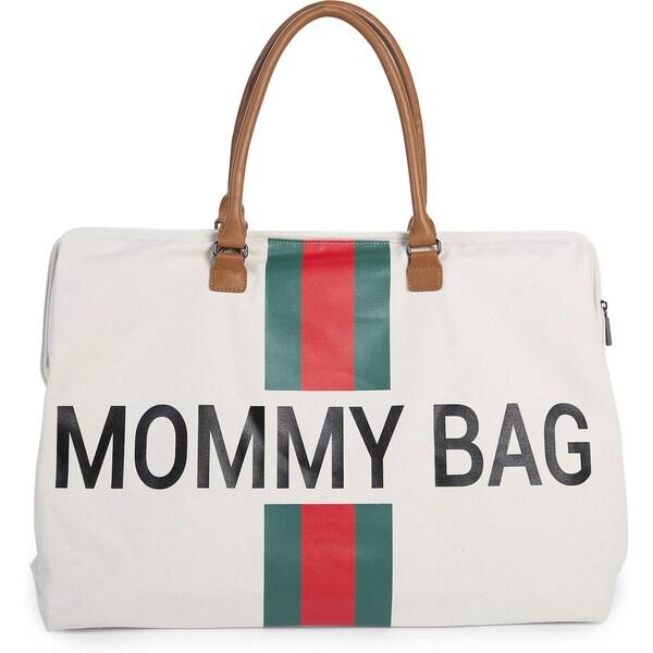 Childhome Wickeltasche Mommy Bag Canvas Steifen rotgrün