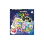 Ravensburger 2er Set Malset Mixxy Colors Glow 25x25 cm mit Leuchtfarbe Bunte Ponys