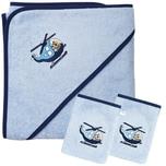 Wörner Set Kapuzenbadetuch mit 2 Waschlappen Hubschrauber sky blau 80 x 80 cm