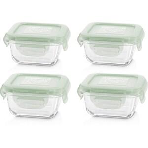 Miniland Aufbewahrungsbehälter Natursquare Quadratisch Glas 160 ml Chip 4-Tlg.