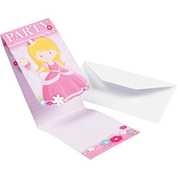 Amscan Einladungskarten My Princess 8 Stück inkl. Umschläge
