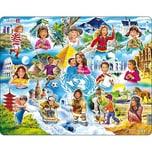 Larsen Rahmen-Puzzle 15 Teile 36x28 cm Kinder Auf der Ganzen Welt