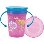 Nuby Trinkbecher WONDER CUP 360° Auslaufsicher 240 ml Silikon-Trinkaufsatz pink