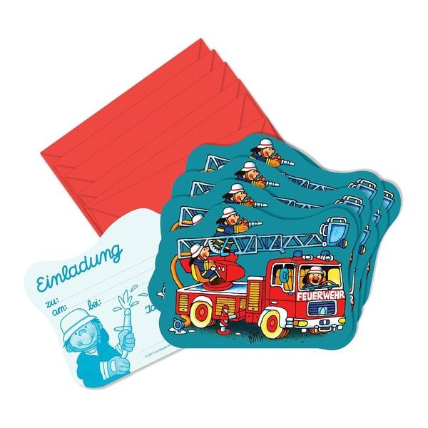 Lutz Mauder Verlag Einladungskarten Feuerwehrmann Benny Brandmeister 8 Stück inkl. Umschläge