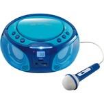 Lenco SCD-650BU - CD-MP3-Player mit FM-Radio USB-Anschluss Karaoke-Mikrofon und Party-Lights blau