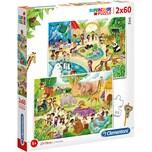 Clementoni Puzzle 2X60 Teile Zoo