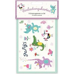 Grätz Verlag Einladungspostkarten Zooparty 8 Stück