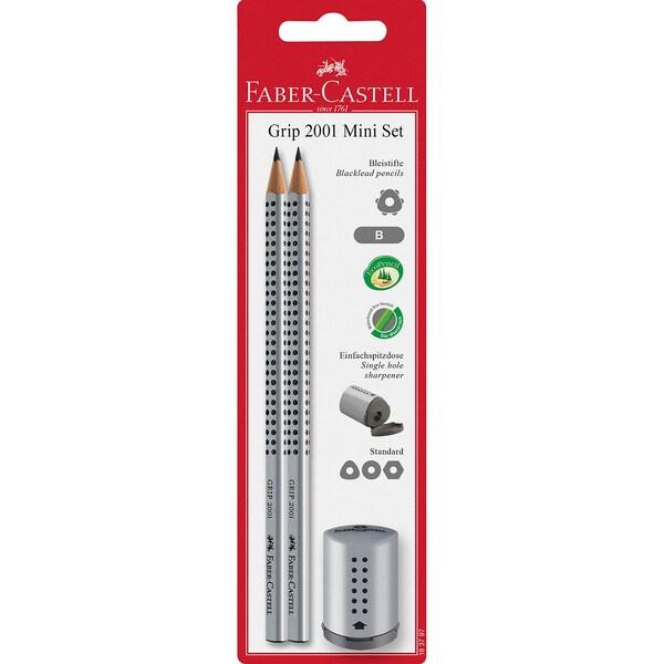 Faber-Castell Bleistift Grip 2001 B 2xMini Spitzer silber
