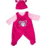 BAYER Kleider für Puppen 33-38 cm: 3-tlg. Set - Hose Oberteil Mütze rosapink