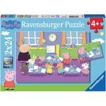 Ravensburger 2er Set Puzzle je 24 Teile 26x18 cm Peppa Pig: Peppa in der Schule