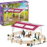 Schleich42389 Reitschule mit Reiterinnen und Pferden