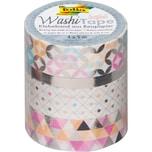 Folia Washi-Tape 4er Set Silber 4 x 5 m