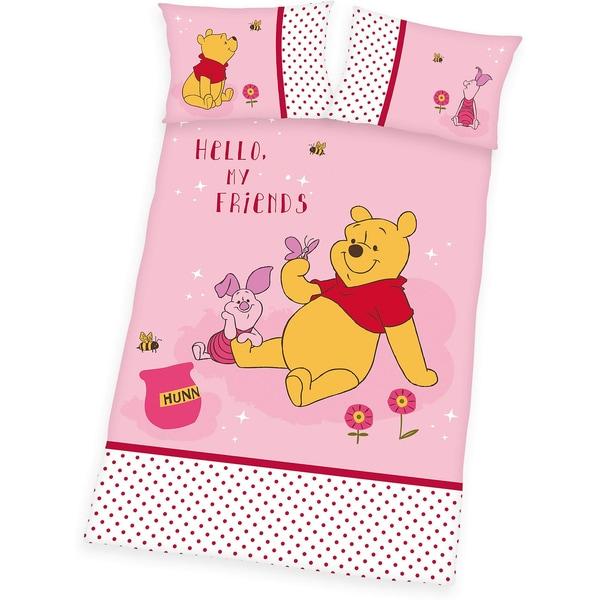 Herding Kinderbettwäsche Winnie Puuh Linon rosa 100 x 135 cm