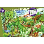 DJECO Wimmelpuzzle Dinosaurier 100 Teile Buch