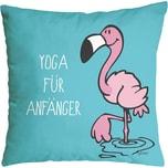 """NICI Kissen Flamingo """"YOGA FÜR"""" Baumwolle bedruckt 37 x 37cm 41942"""