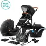 Kinderkraft Kombi Kinderwagen Prime 2020 3in1 inkl. Mommy Bag schwarz