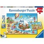 Ravensburger 2er Set Puzzle je 24 Teile 26x18 cm Urlaub am Meer