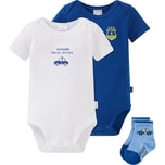 Schiesser Baby Set Bodys Doppelpack Socken für Jungen Polizei