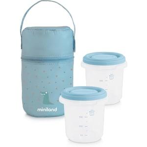 Miniland Isoliertasche Inkl. 2 Aufbewahrungsbehälter Hermisized 250 ml Azurblau 3-Tlg.
