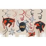 Amscan Dekospiralenset Ninja 12-tlg.