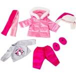 BAYER Kleider für Puppen 42-46 cm: 6-tlg. - Shirt Hose Jacke Mütze Schal passende Schuhe rosapink