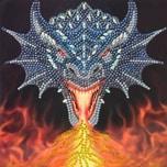 CRAFT Buddy Crystal Art Drachenfeuer-Kopf 18 x 18 cm Kristallkunst-Karte ANNE STOKES