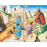 Larsen 3er-Set Rahmen-Puzzle 28 Teile 28x18 cm David Und Goliath