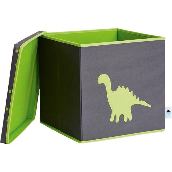 Store It! Spielzeugkiste Dino mit stabilem Deckel grau/grün