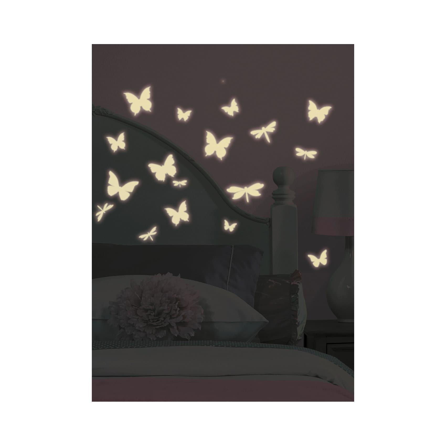 RoomMates Wandsticker Leuchtschmetterlinge Glow in Dark 79-tlg.