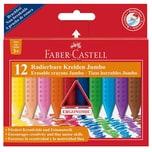 Faber-Castell Dreikant-Wachsmalkreiden JUMBO GRIP radierbar 12 Farben