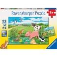 Ravensburger 2er Set Puzzle je 12 Teile 26x18 cm Tierkinder auf dem Land