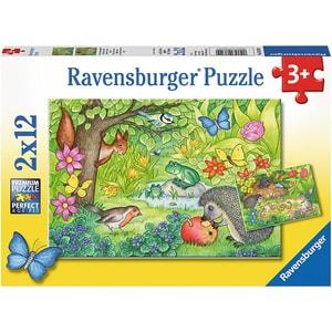 Ravensburger 2er Set Puzzle je 12 Teile 26x18 cm Tiere in unserem Garten
